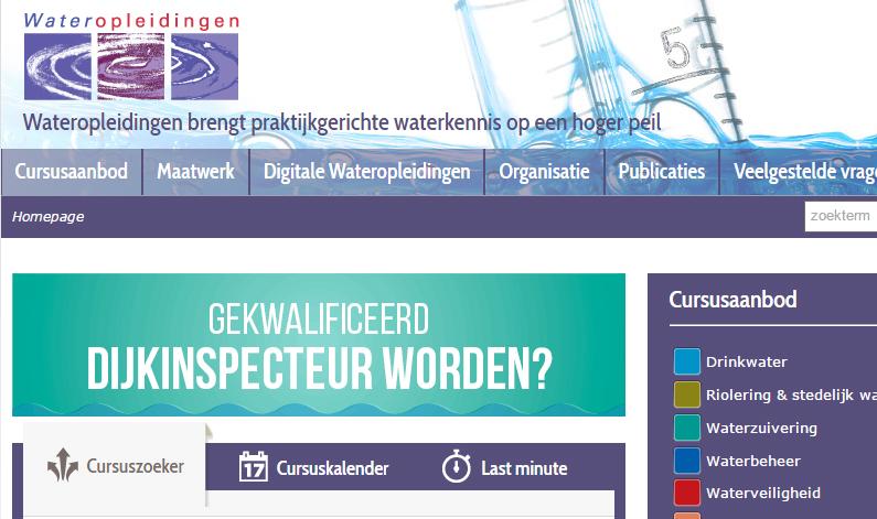 Screenshot van Wateropleidingen-website