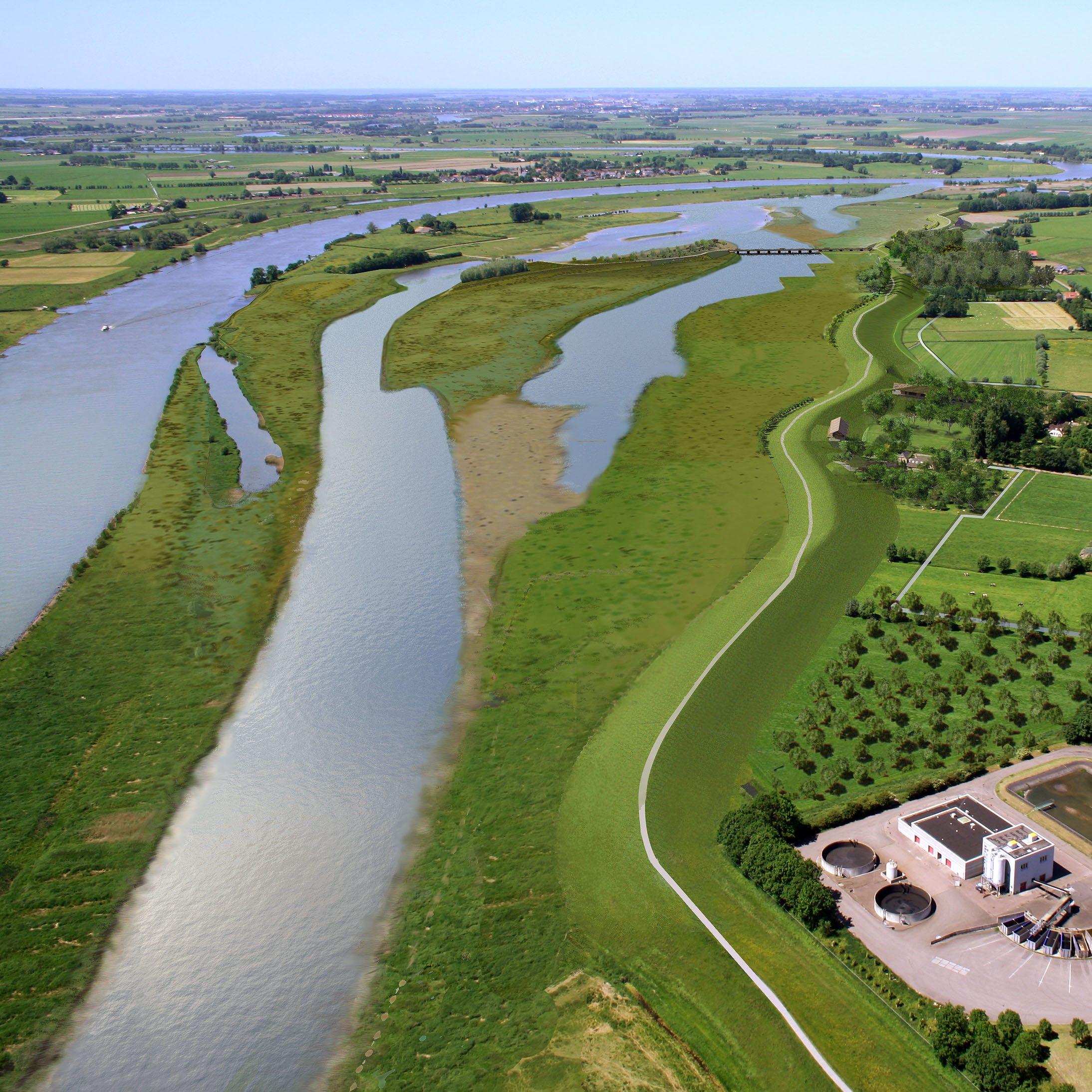 Luchtfoto Ruimte voor de Rivier Zwolle, waterschap Groot Salland