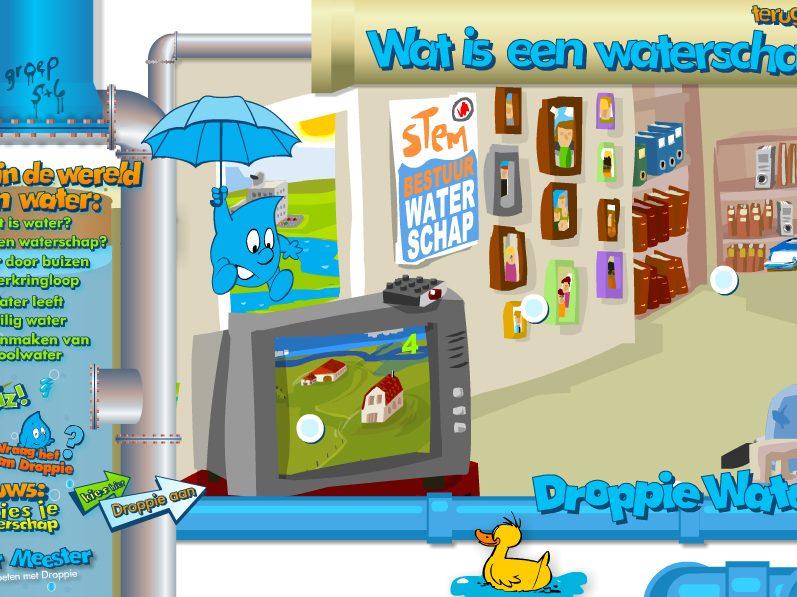 Screenshot van homepage Droppie Water-website