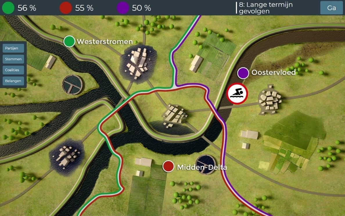 Screenshot van een onderdeel van de democratiegame.